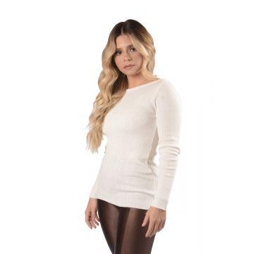 BLUSA BÁSICA CANELADA - Tricot - Off White